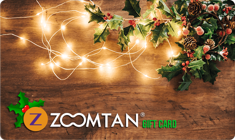 Christmas Gift Card - Christmas lights and Holly on wooden background with logo
