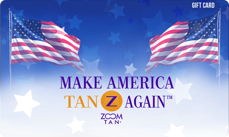 Standard or Patriotic Gift Card - Make America Tan Again slogan with flags and stars on blue and white background