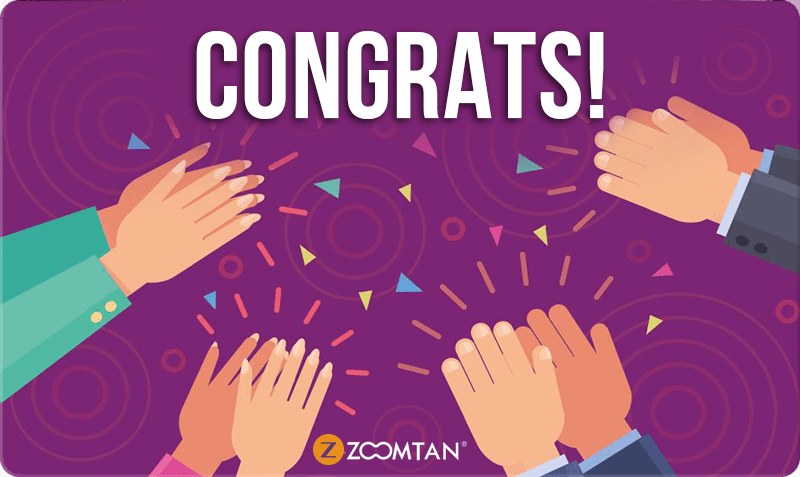 Congratulatory Gift Card - 'Congrats!' text on purple background with cheering hands and confetti