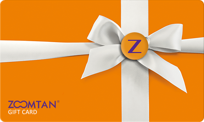 Zoom Tan Generic Card - orange background with white ribbon and logo