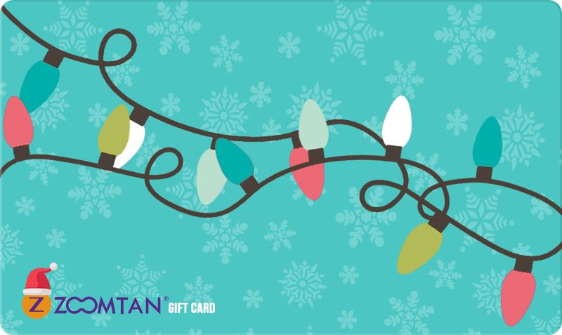 Holiday Gift Card - Christmas Lights on teal background with snowflakes