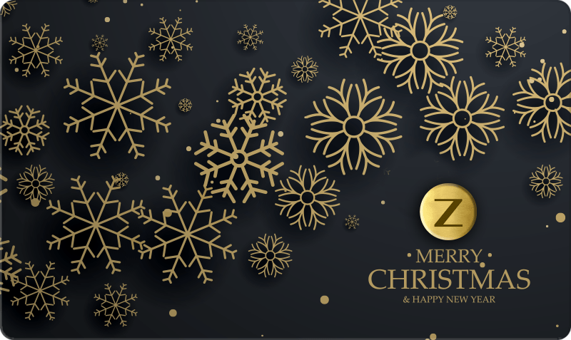 Christmas Gift Card - 'Merry Christmas' gold text on black background with 3d gold snowflakes