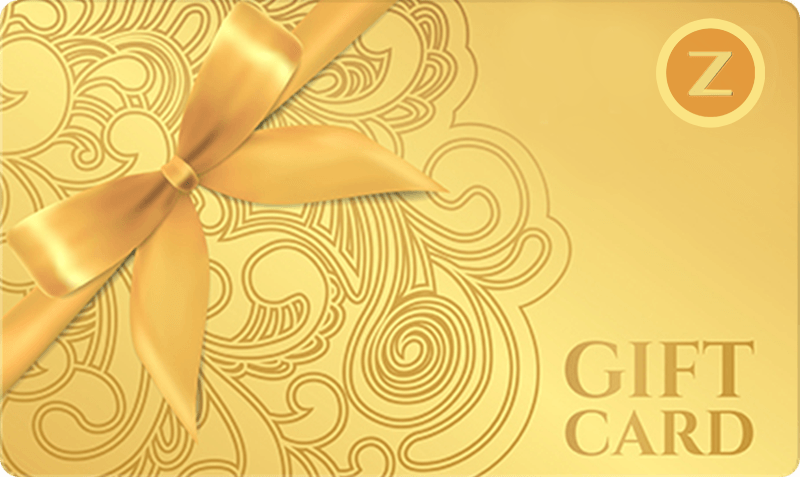Standard or Holiday Gift Card - Gold with gold ribbon on orate pattern with logo