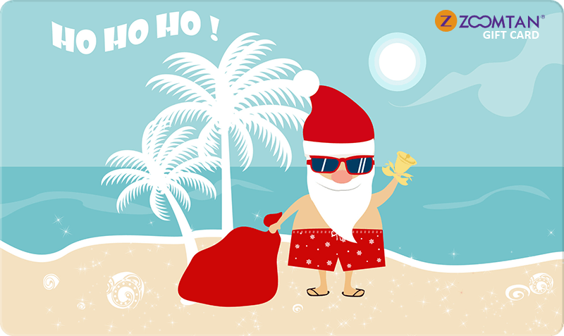 Holiday Gift Card - Santo on beach in red swim trunks waving
