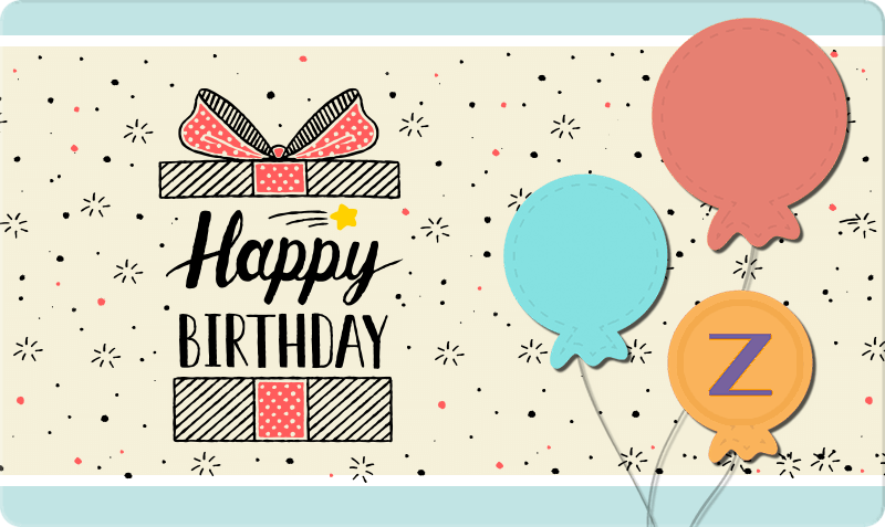 Birthday Gift Card - Gift box with cut out balloons and 'Happy Birthday' text
