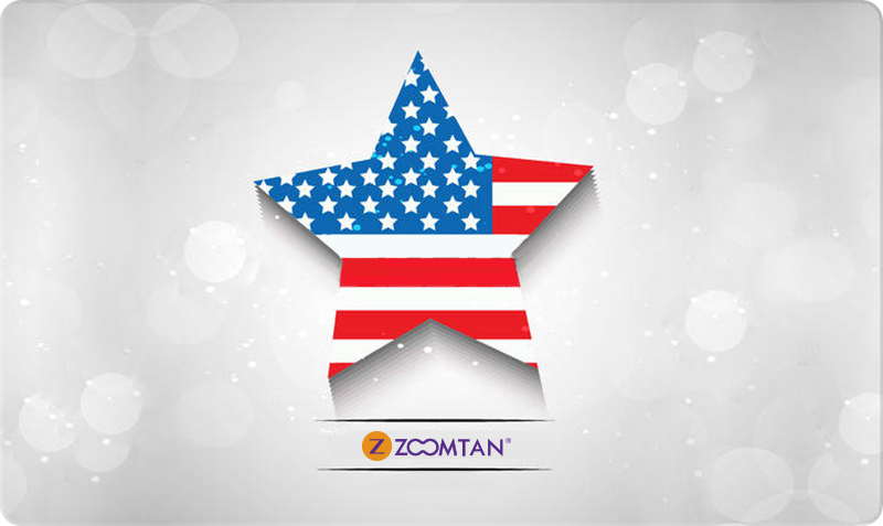 Patriotic Gift Card - 3D star filled with American flag design on white with logo