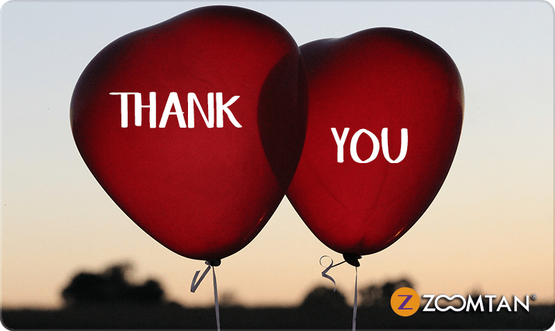 Thank You Gift Card - Two red heart balloons with 'Thank You' text