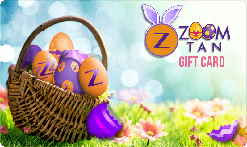 Easter/Spring Gift Card - Bunny Ear Easter Logo with Easter basket filled with Zoom Tan Eggs on grass